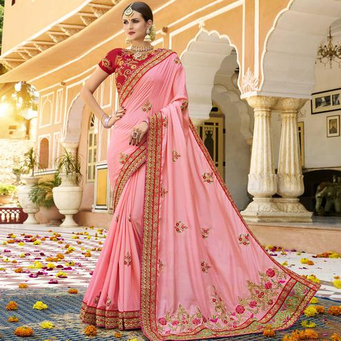 Jazzy Pink Colored Party Wear Embroidered Silk Saree