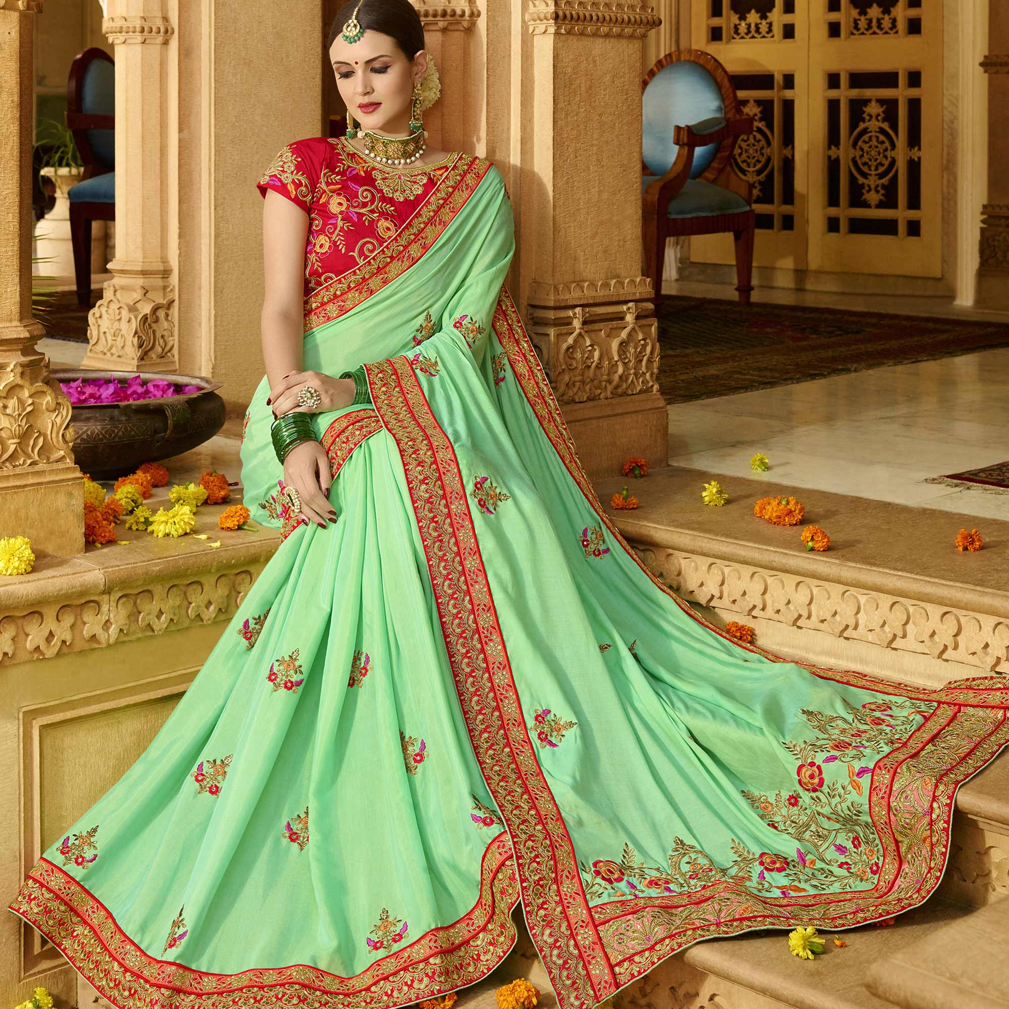 Appealing Turquoise Green Colored Party Wear Embroidered Silk Saree
