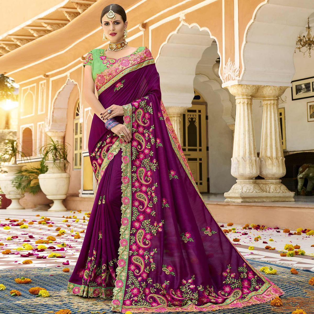 Groovy Violet Colored Party Wear Embroidered Art Silk Saree