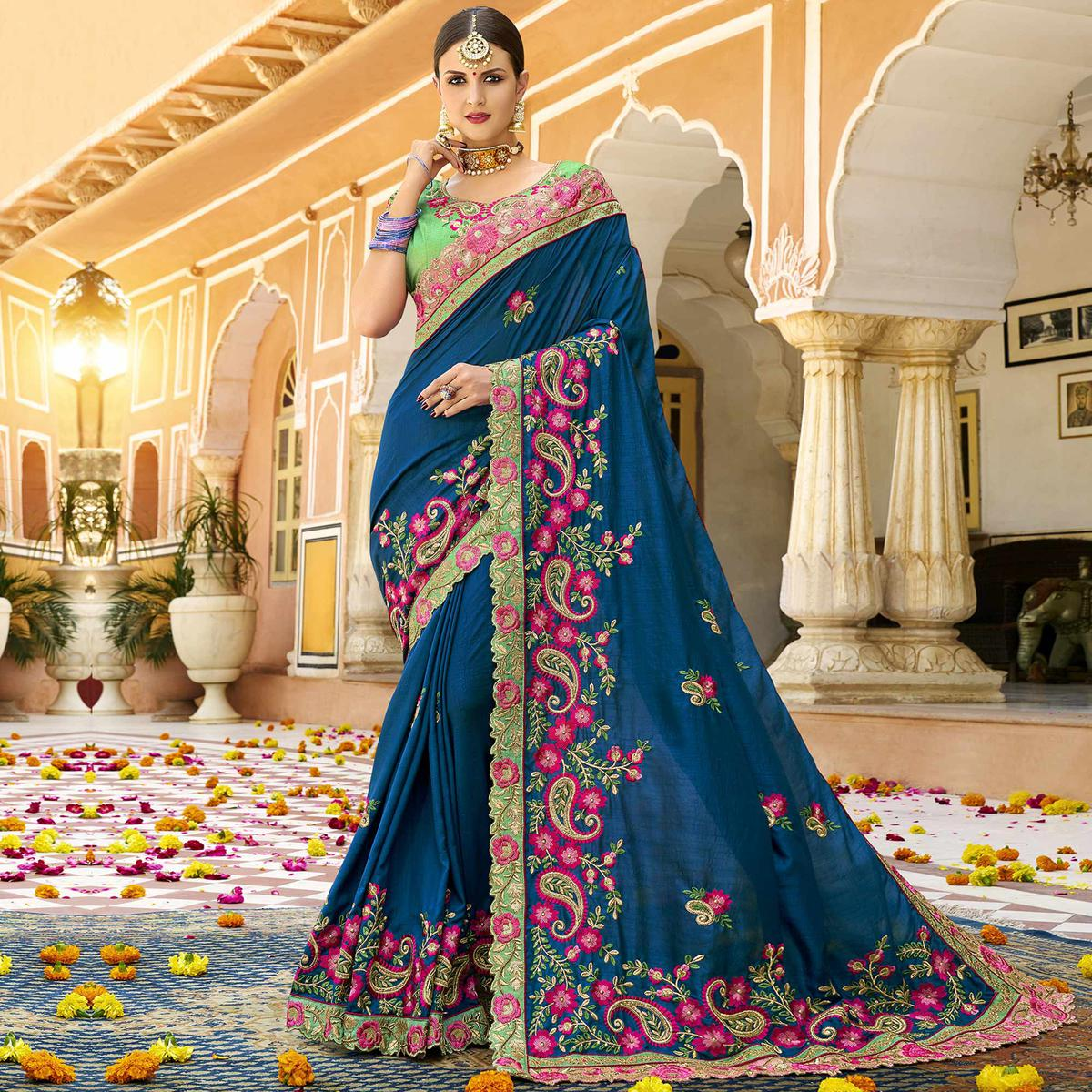 Prominent Blue Colored Party Wear Embroidered Art Silk Saree