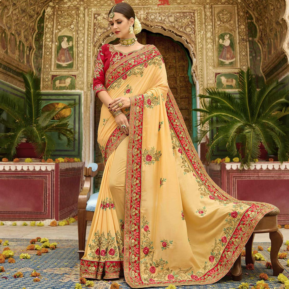 Capricious Light Yellow Colored Party Wear Embroidered Cotton Silk Saree