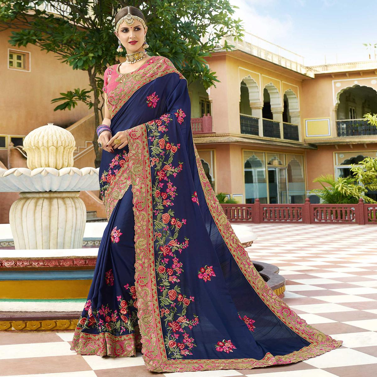Captivating Navy Blue Colored Party Wear Embroidered Art Silk Saree