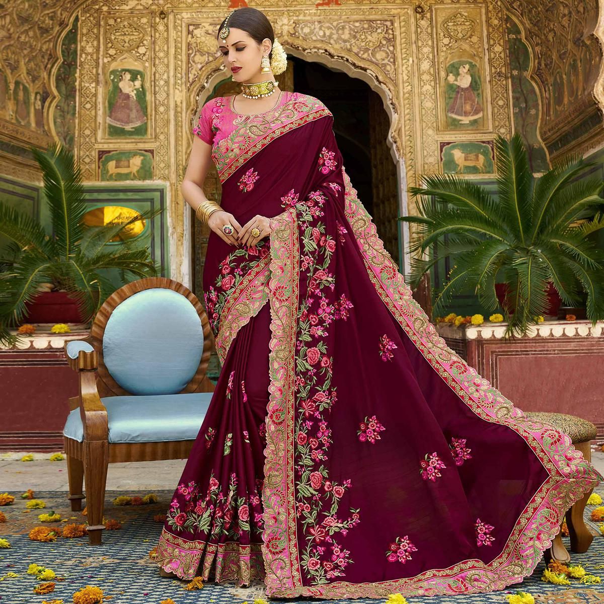 Innovative Maroon Colored Party Wear Embroidered Art Silk Saree