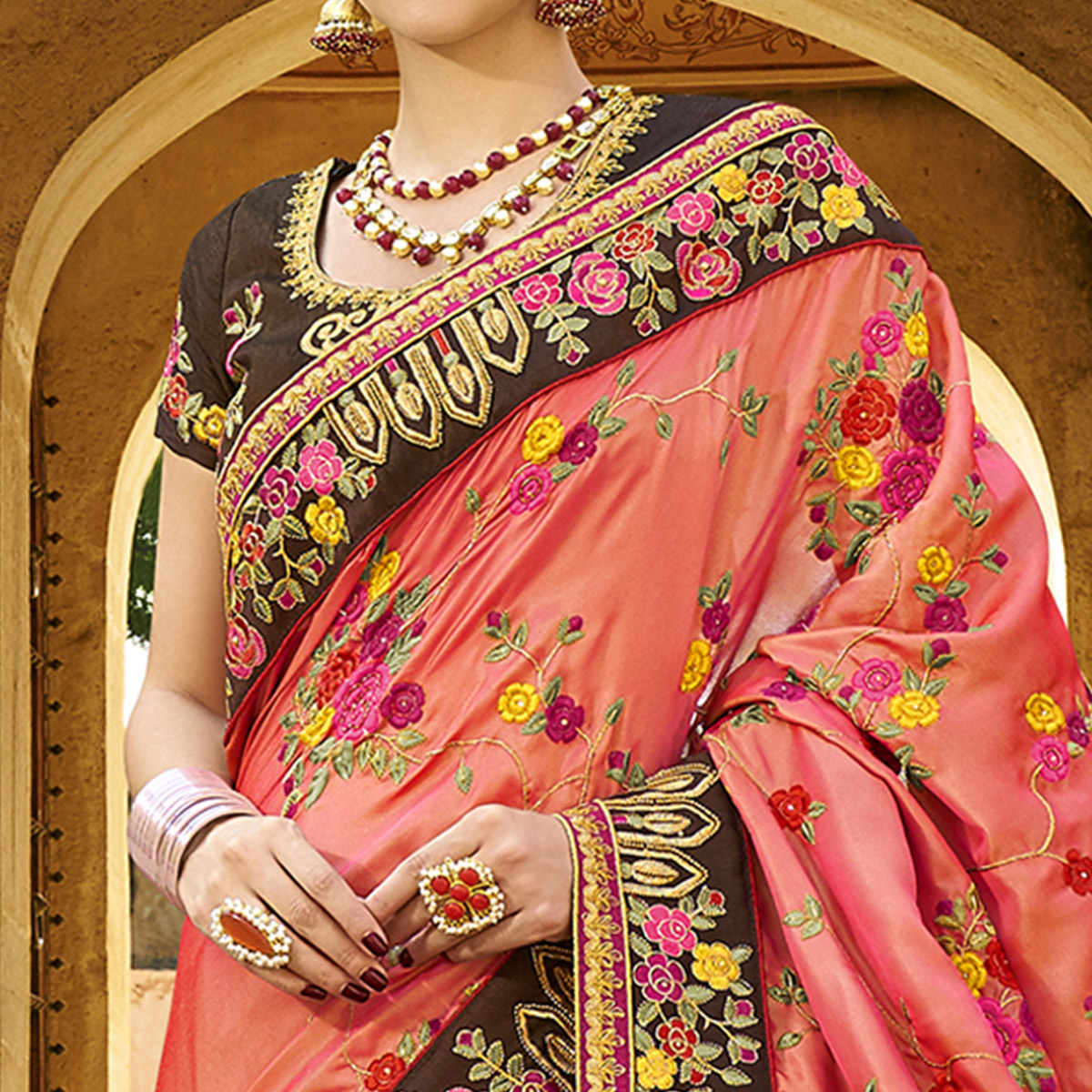 Arresting Peach Colored Party Wear Embroidered Raw Silk Saree