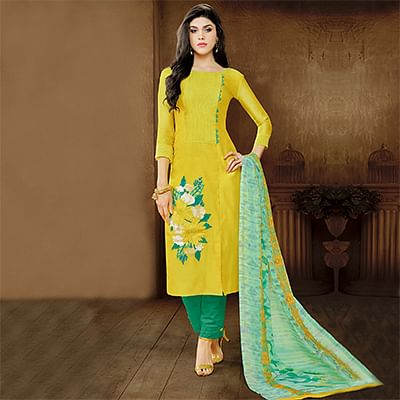 Ravishing Yellow Embroidered Designer Salwar Suit
