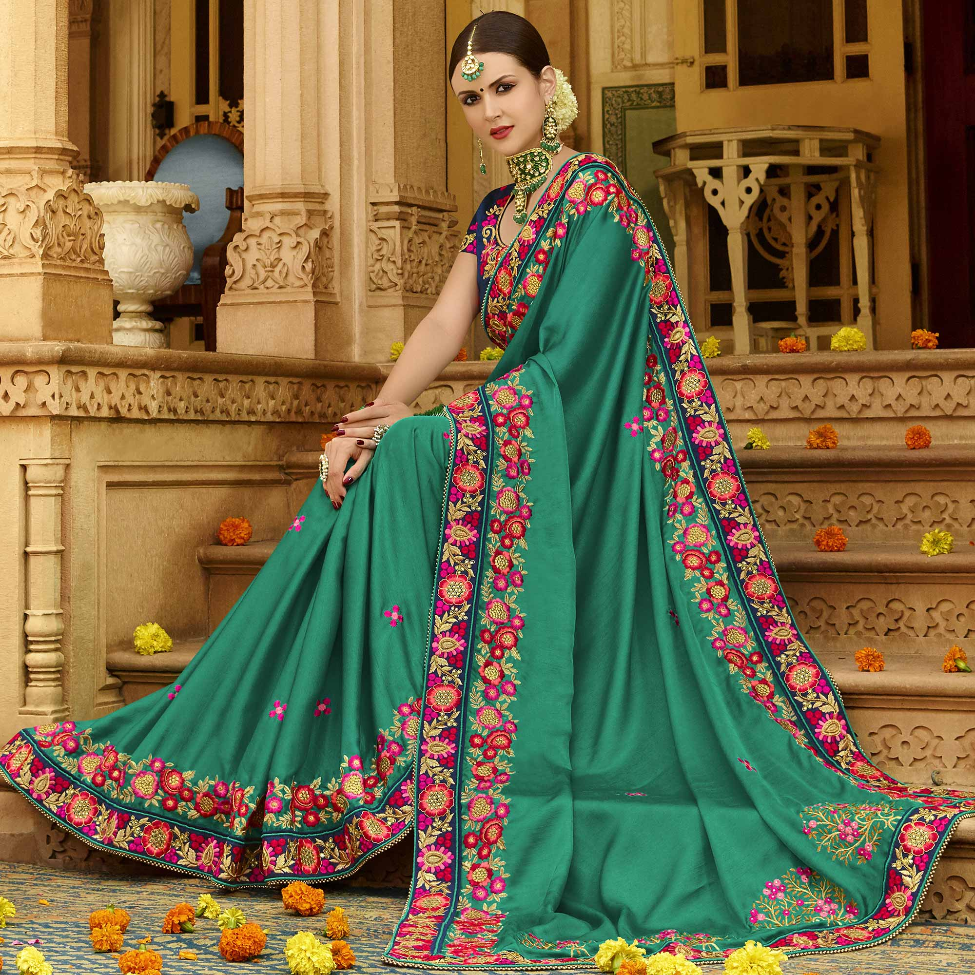 Exceptional Dark Ocean Green Colored Party Wear Embroidered Art Silk Saree