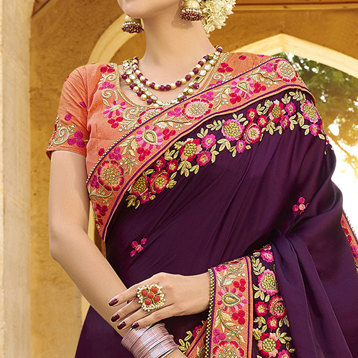 Excellent Dark Violet Colored Party Wear Embroidered Art Silk Saree