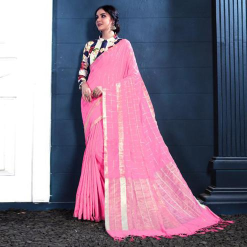 Classy Pink Colored Partywear Printed Linen Silk Saree