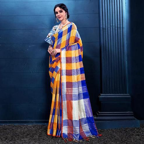 Glowing Yellow-Blue Colored Partywear Printed Linen Silk Saree