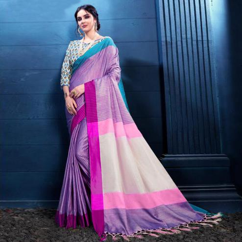 Beautiful Lavender Colored Partywear Printed Linen Silk Saree