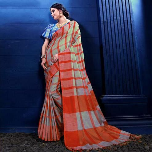 Impressive Red-Gray Colored Partywear Printed Linen Silk Saree