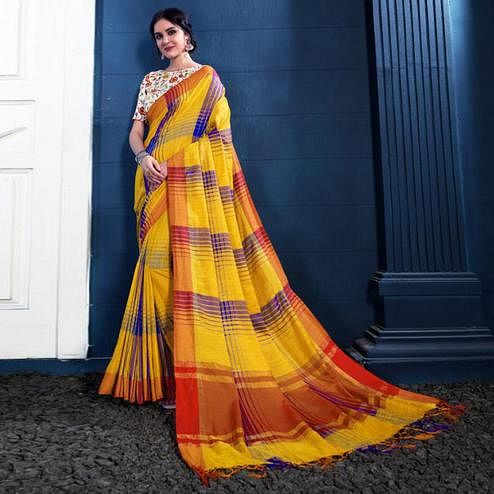Starring Yellow Colored Partywear Printed Linen Silk Saree