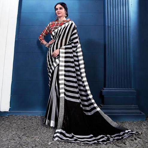 Desirable Black-White Colored Partywear Printed Linen Silk Saree