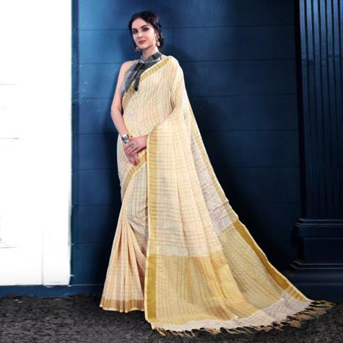Appealing Off-White Colored Partywear Printed Linen Silk Saree