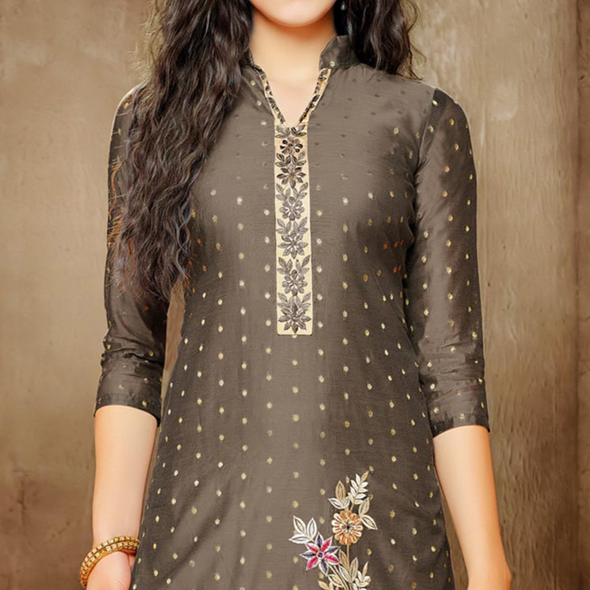 Gorgeous Brown Embroidered Designer Salwar Suit