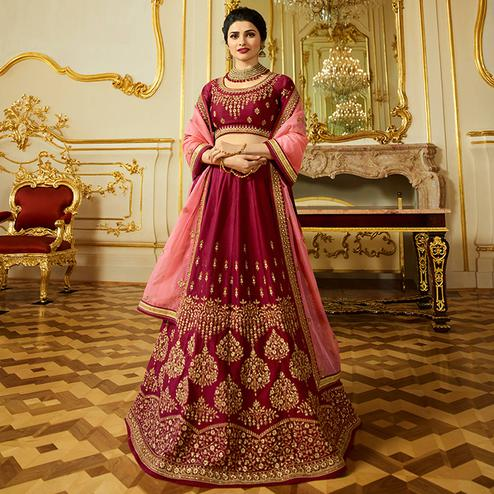 Intricate Maroon Colored Wedding Wear Embroidered Art Silk Lehenga Choli