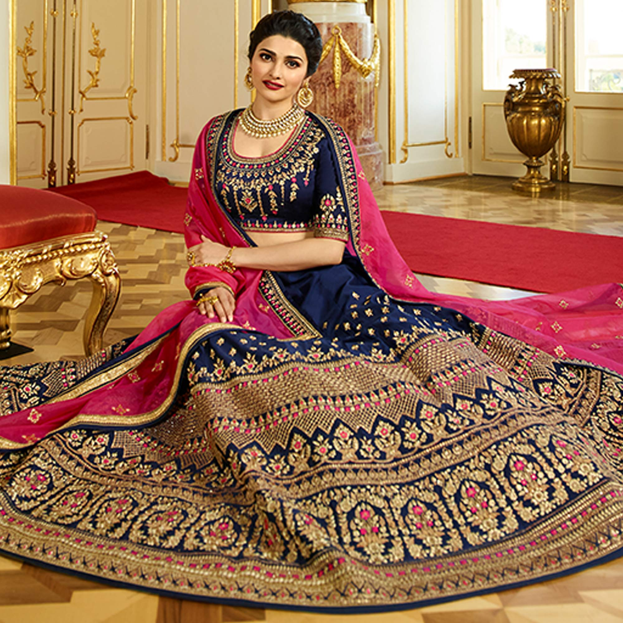 Desirable Navy Blue Colored Wedding Wear Embroidered Art Silk Lehenga Choli