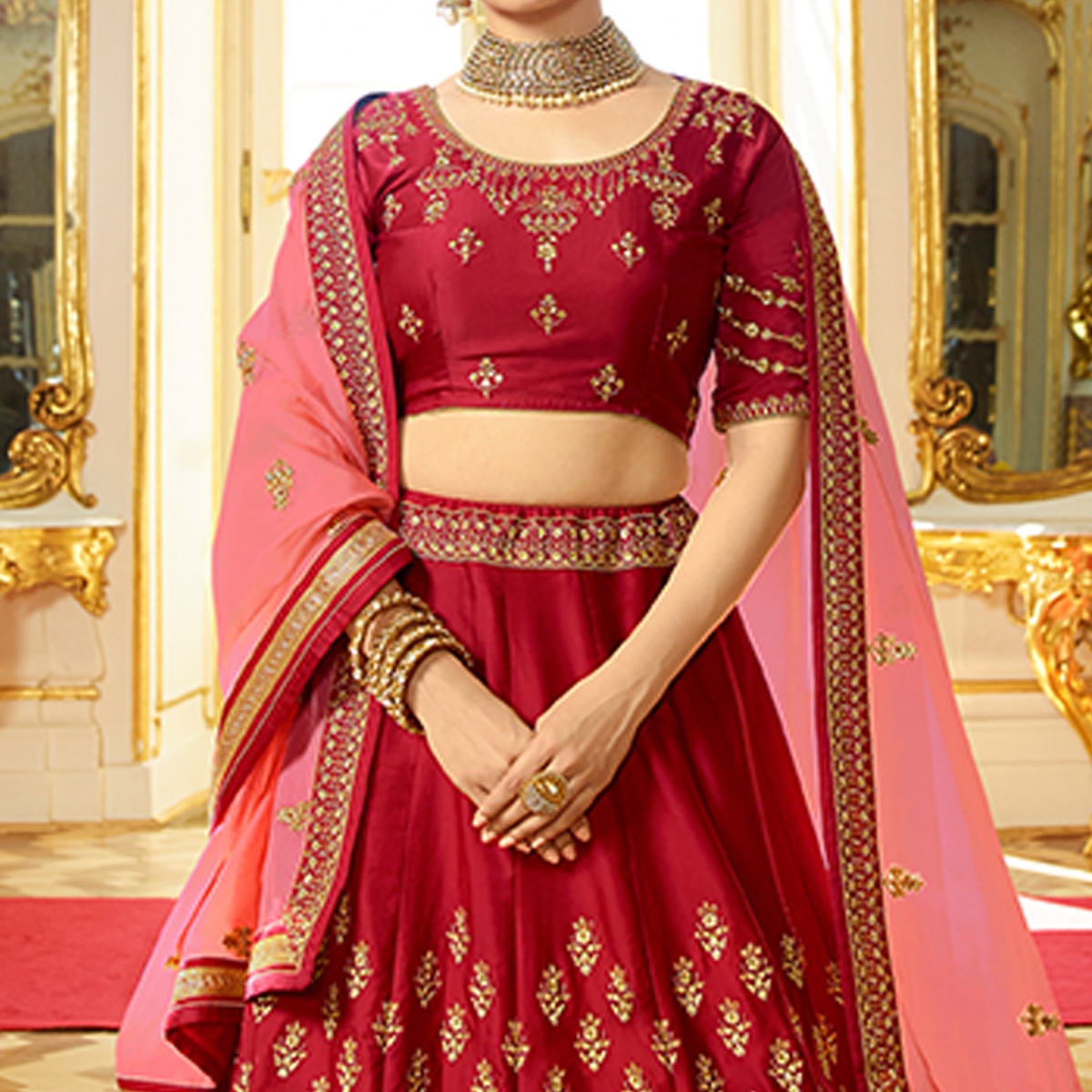 Jazzy Red Colored Wedding Wear Embroidered Art Silk Lehenga Choli