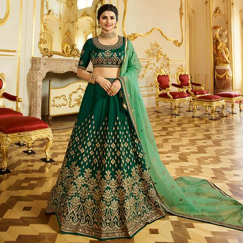 Appealing Green Colored Wedding Wear Embroidered Art Silk Lehenga Choli