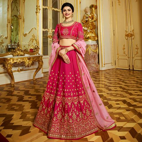 Groovy Pink Colored Wedding Wear Embroidered Art Silk Lehenga Choli