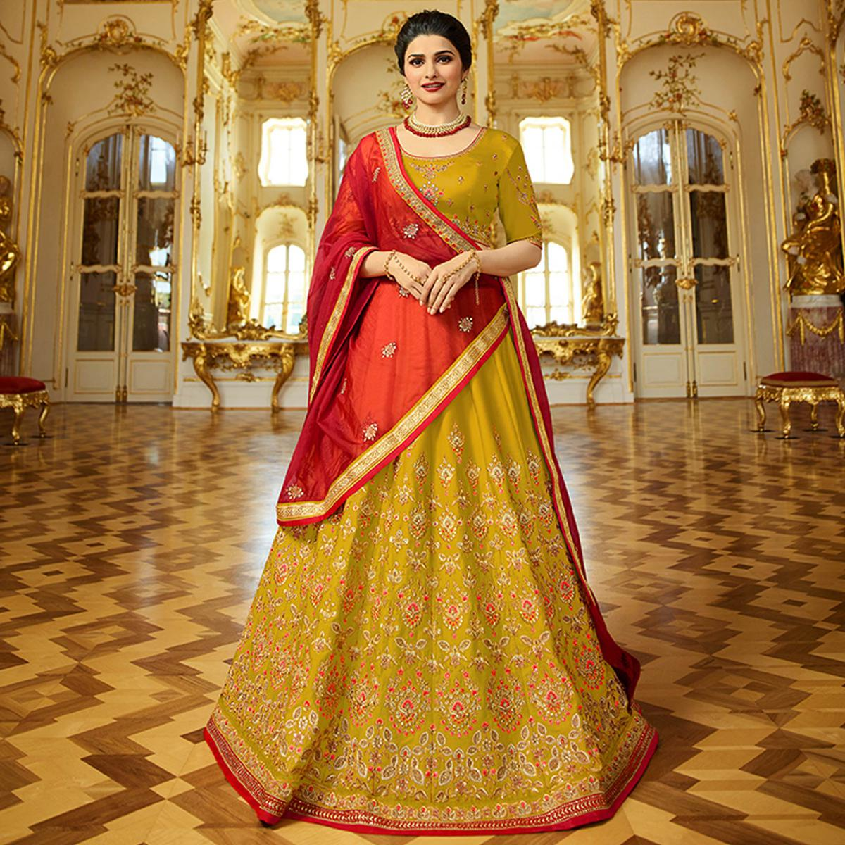 Capricious Mehndi Green Colored Wedding Wear Embroidered Art Silk Lehenga Choli
