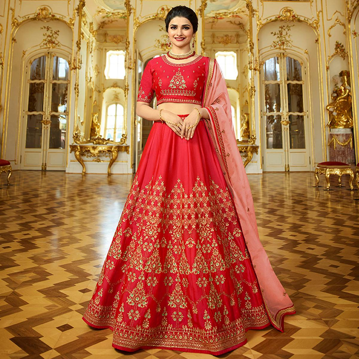 Adorning Rose Red Colored Wedding Wear Embroidered Art Silk Lehenga Choli