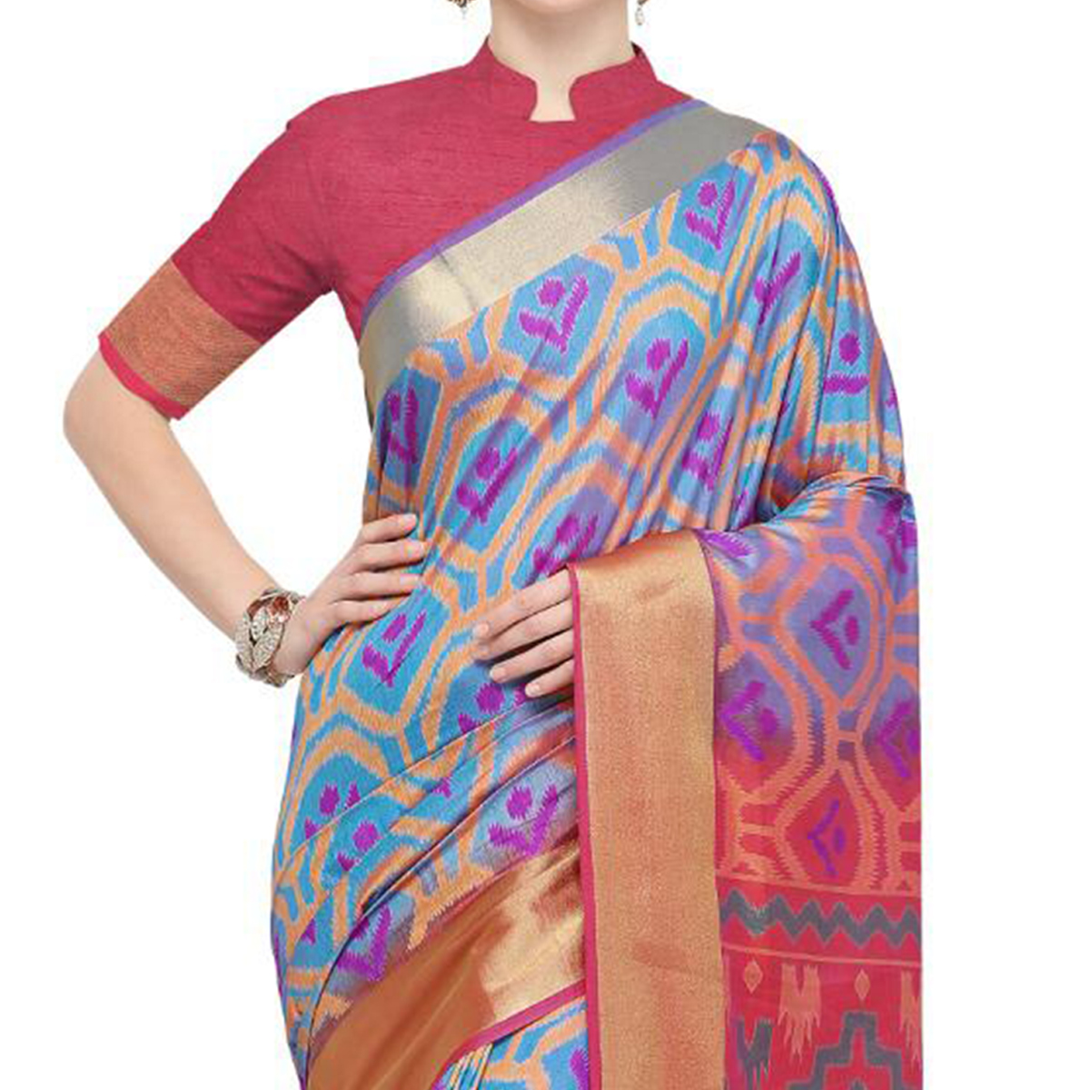 Elegant Light Blue Colored Festive Wear Woven Cotton Silk Saree
