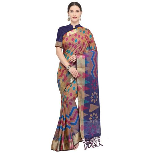 Blooming Light Brown Colored Festive Wear Woven Cotton Silk Saree