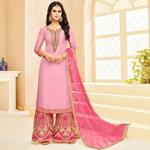 Jazzy Pink Colored Party Wear Embroidered Silk Palazzo Suit