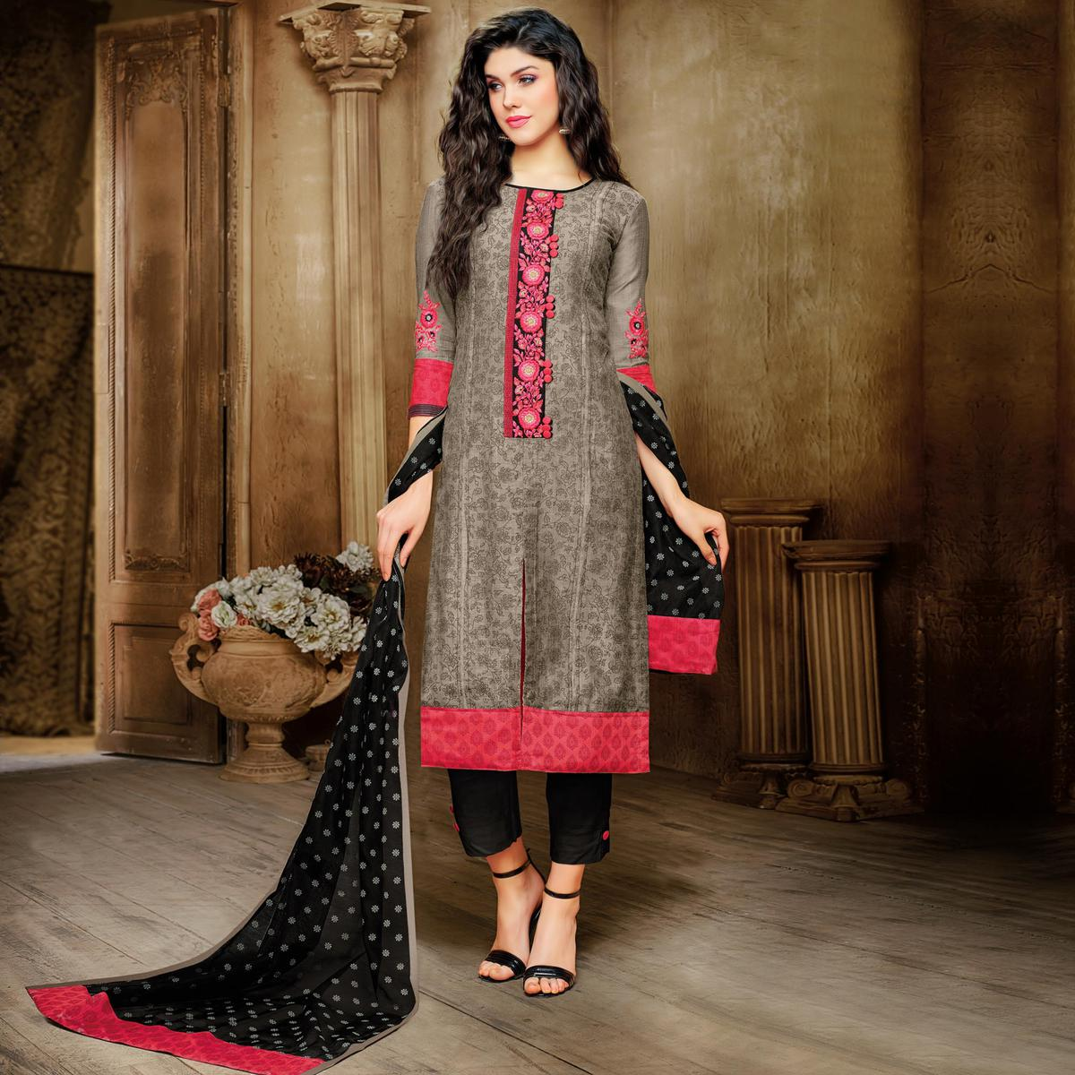 Elegant Brown Embroidered Designer Salwar Suit