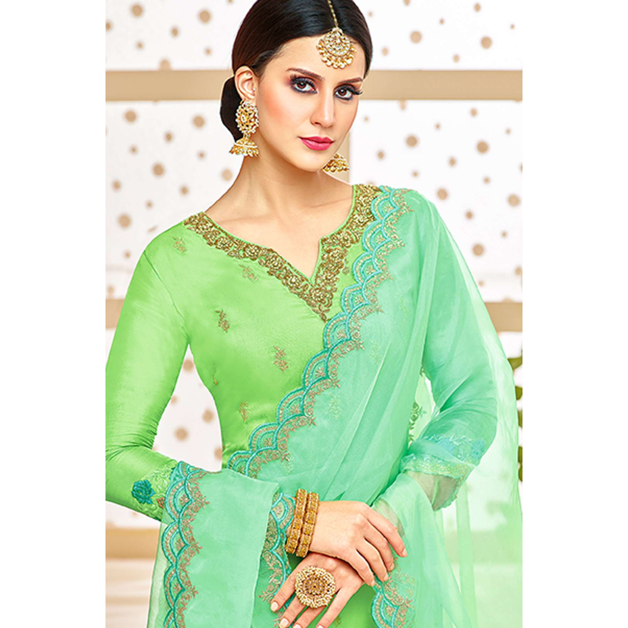 Appealing Green Colored Party Wear Embroidered Silk Palazzo Suit