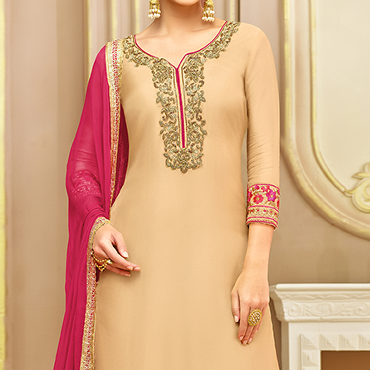 Groovy Beige Colored Party Wear Embroidered Silk Palazzo Suit