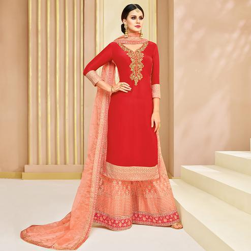 Prominent Red Colored Party Wear Embroidered Silk Palazzo Suit