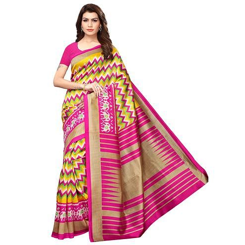 Beautiful Yellow-Pink Colored Festive Wear Art Silk Saree