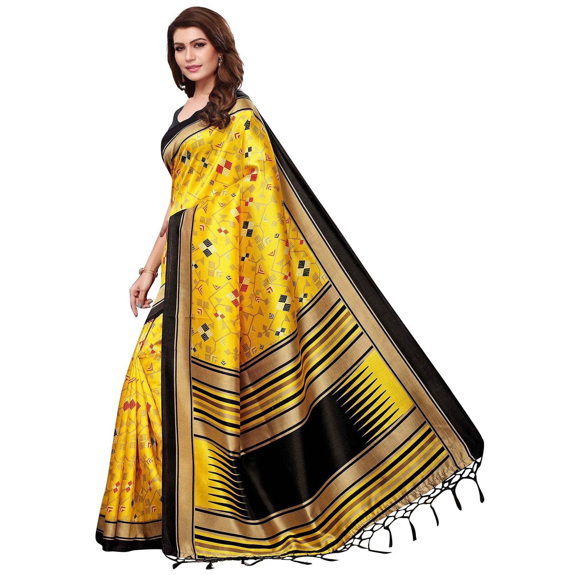 Glorious Yellow Colored Festive Wear Mysore Silk Saree With Tassels