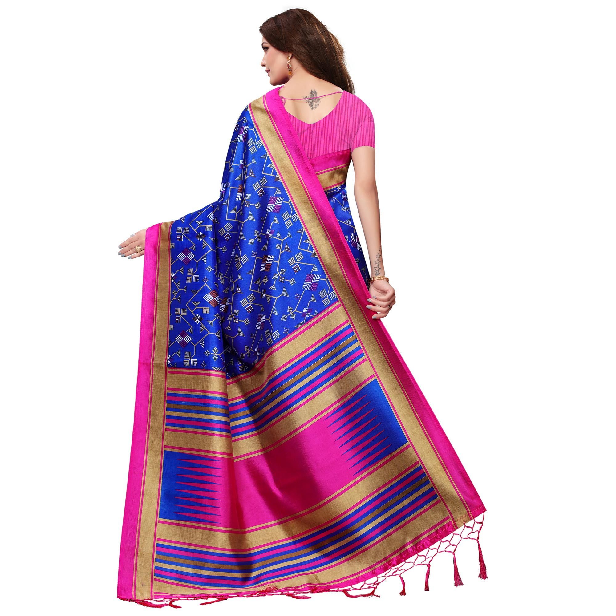 Graceful Blue Colored Festive Wear Mysore Silk Saree With Tassels