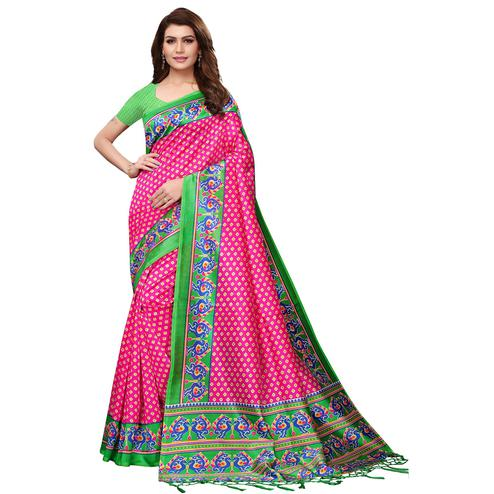 Lovely Pink Colored Festive Wear Mysore Silk Saree With Tassels