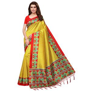Pretty Yellow Colored Festive Wear Mysore Silk Saree With Tassels