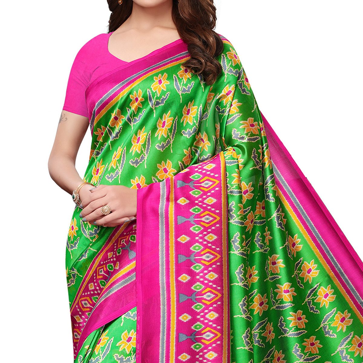 Charming Green Colored Festive Wear Mysore Silk Saree With Tassels