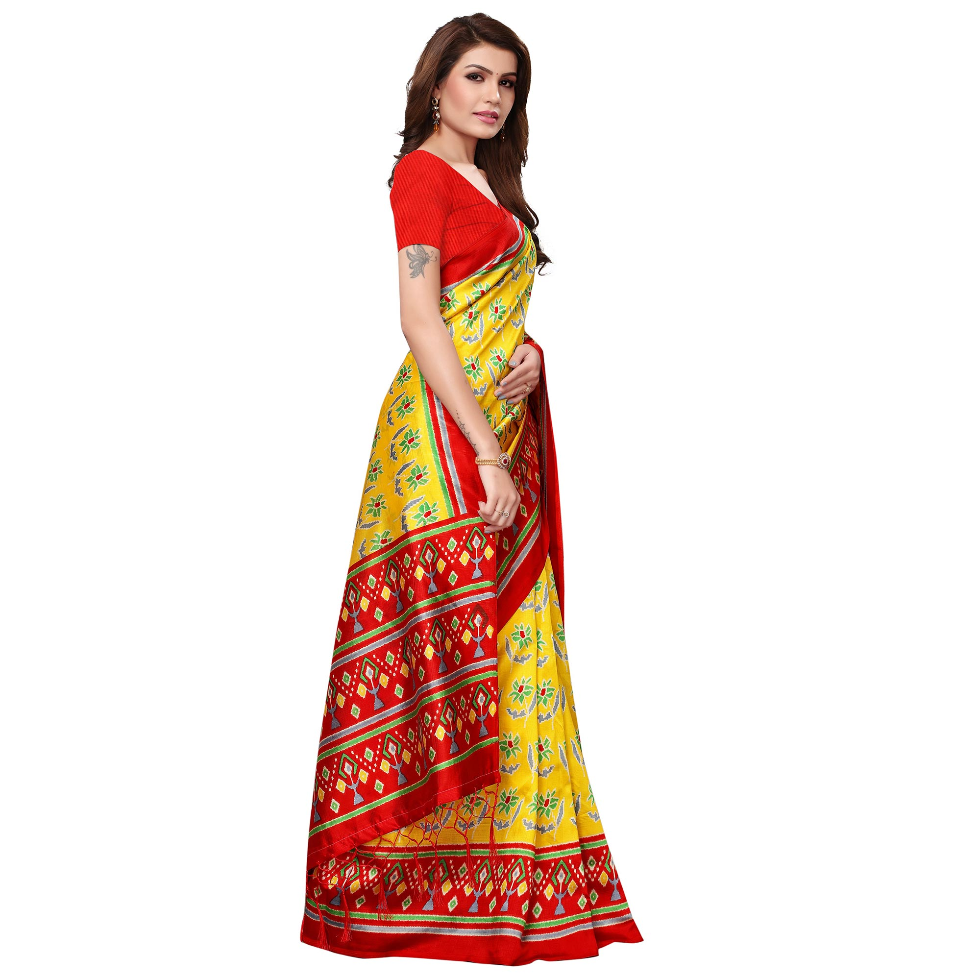 Ravishing Yellow Colored Festive Wear Mysore Silk Saree With Tassels