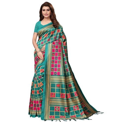 Delightful Turquoise Green Colored Festive Wear Mysore Silk Saree With Tassels