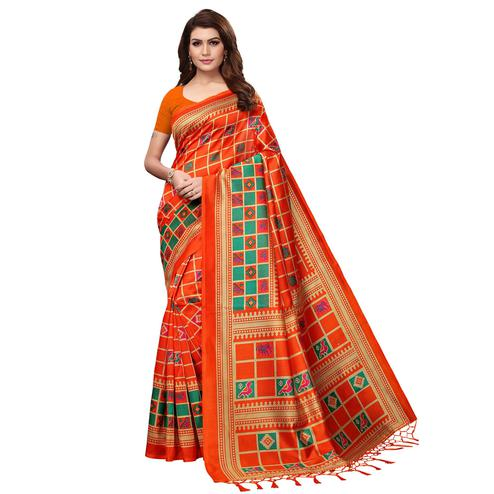 Stunning Dark Orange Colored Festive Wear Mysore Silk Saree With Tassels