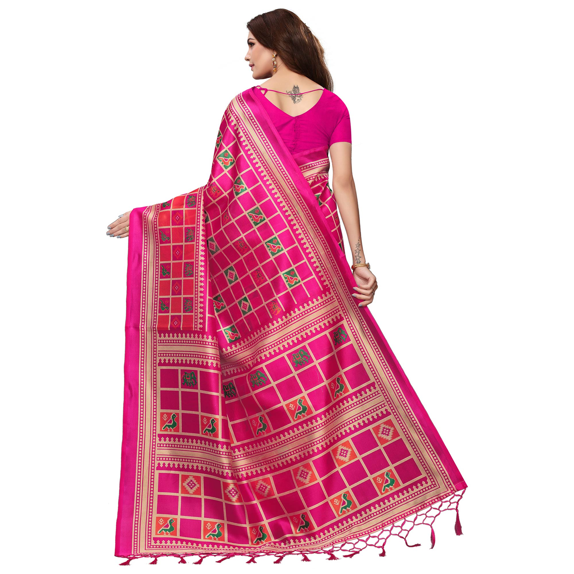 Blooming Pink Colored Festive Wear Mysore Silk Saree With Tassels