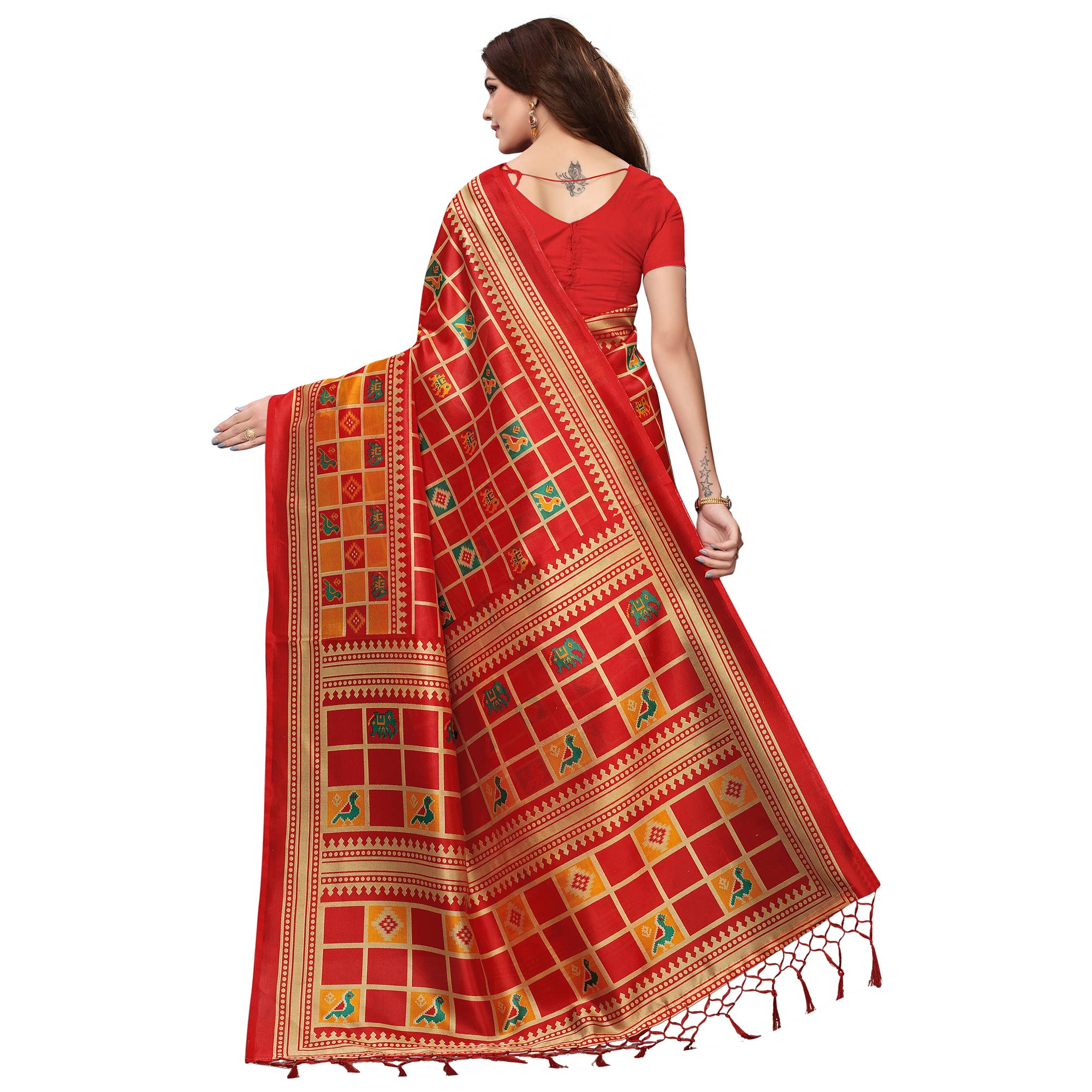 Marvellous Red Colored Festive Wear Mysore Silk Saree With Tassels