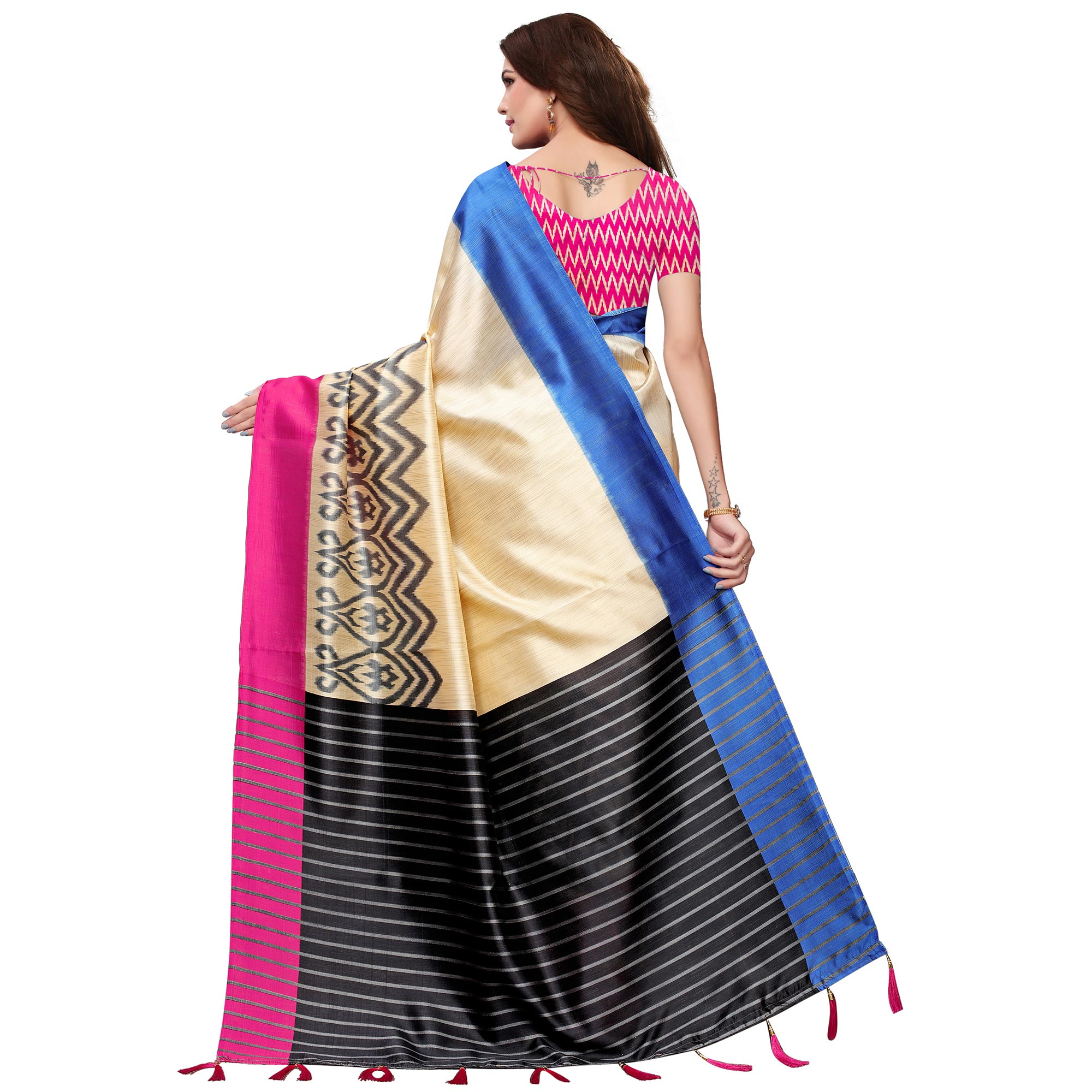 Mesmerising Cream-Pink Colored Festive Wear Mysore Silk Saree With Tassels