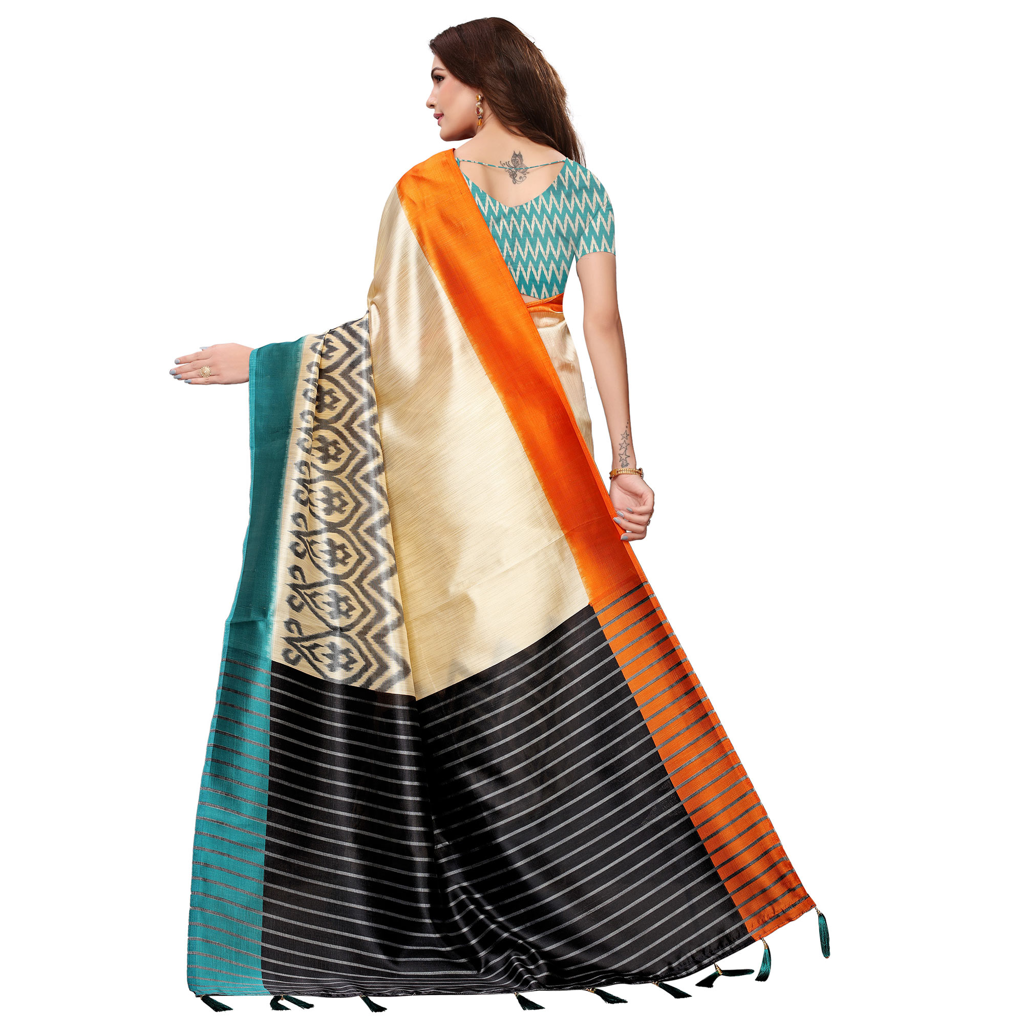 Ravishing Cream-Teal Blue Colored Festive Wear Mysore Silk Saree With Tassels