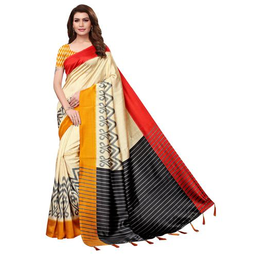 Eye-catching Cream-Mustard Colored Festive Wear Mysore Silk Saree With Tassels