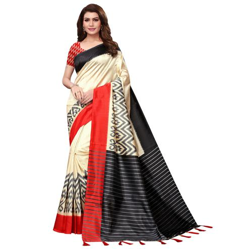 Amazing Cream-Red Colored Festive Wear Mysore Silk Saree With Tassels