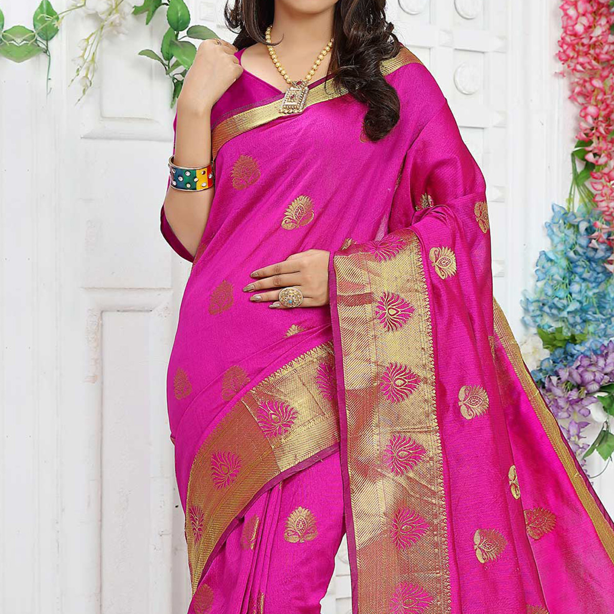 Pink Festive Wear Chanderi  Saree