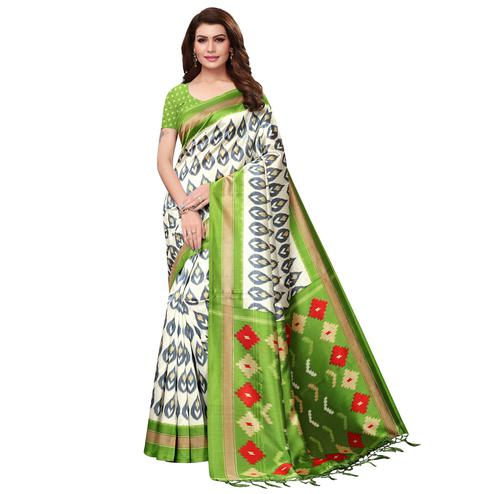 Exotic White-Green Colored Festive Wear Mysore Silk Saree With Tassels